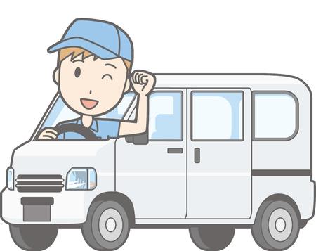 Illustration that a man riding a mini car van guts posing