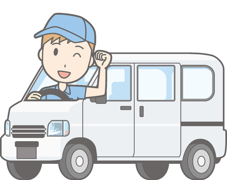 Illustration that a man riding a mini car van guts posing
