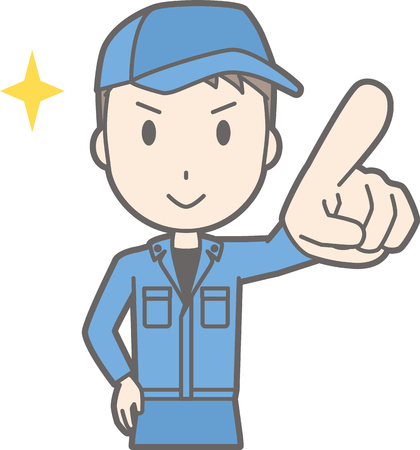 Illustration that a man wearing work clothes points towards the front