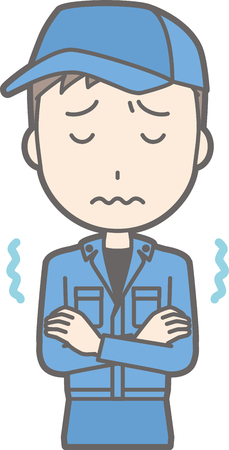 Illustration that a man wearing work clothes is cold and trembling