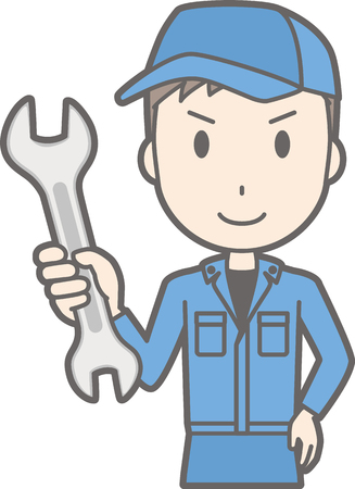 Illustration that men wearing work clothes have spanners