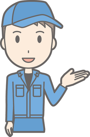 An illustration guided by a man wearing work clothes Illusztráció