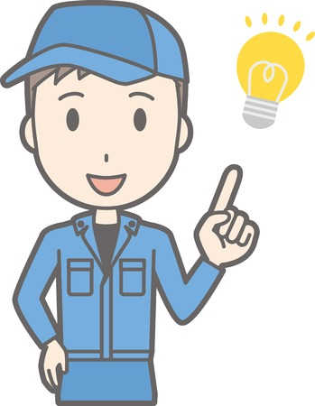 Illustration of man wearing work clothes flashing ideas Illustration