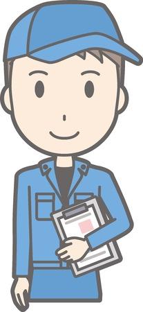 作業服を着た男がファイルを持っていることの図  イラスト・ベクター素材