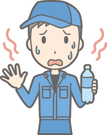 Illustration that man wearing work clothes are hot and sweaty