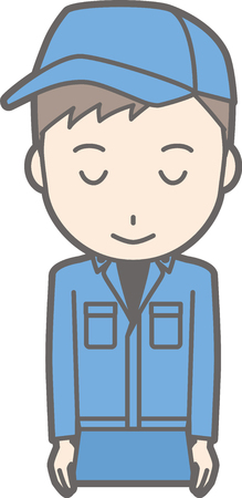 Illustration that a man wearing work clothes smiles with a bow