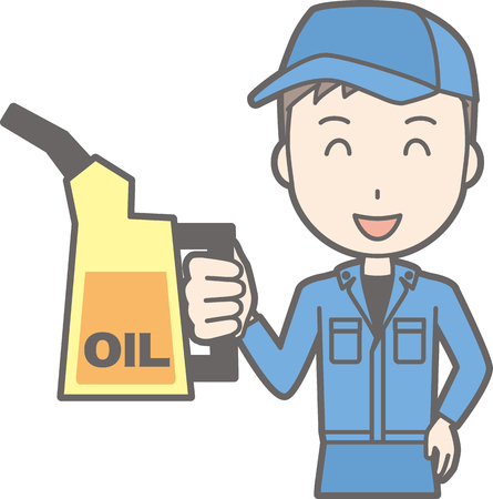 Illustration that men in work clothes have engine oil Illustration