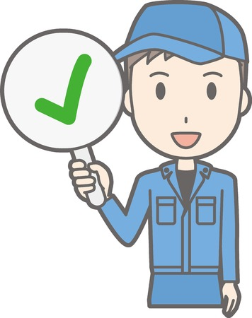 on the comprehension: Illustration that a man wearing work clothes has a checkmark tag Illustration