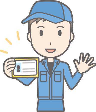 checking: Illustration of a man showing his identification card
