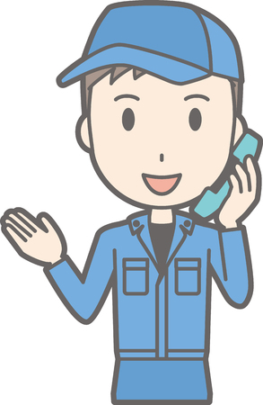 Illustration of a man wearing work clothes while taking on the phone