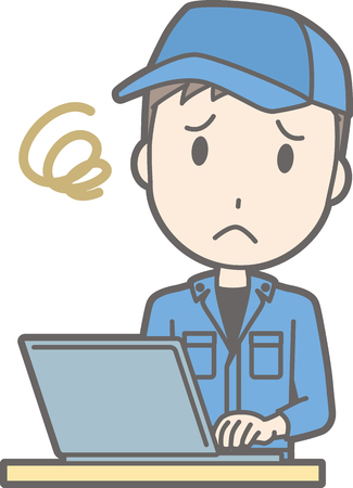 Illustration of a man wearing work clothes looking troubled working on a laptop