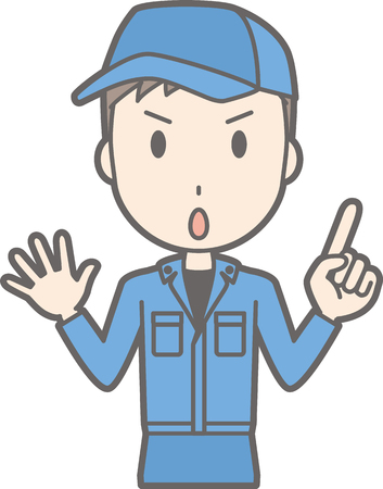 Illustration that a man wearing a work cloth points with him finger