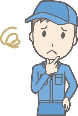Illustration, dass ein Mann, der Arbeitskleidung trägt, seinen Kopf neigt Standard-Bild - 84164518