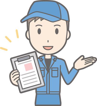 Illustration qu'un homme portant des vêtements de travail parle avec un fichier