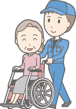 Illustration that a man wearing a work clothes pushes a wheelchair on which an old woman rides