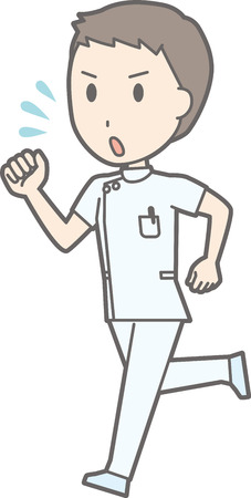 nursing clothes: Illustration of a scene in which a male nurse wearing a white suit is running