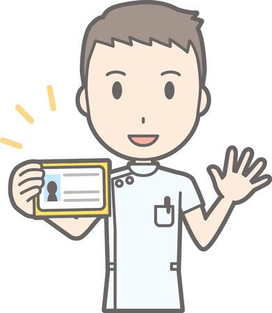 Illustratie van een mannelijke verpleegster die een wit pak met een identificatiekaart draagt