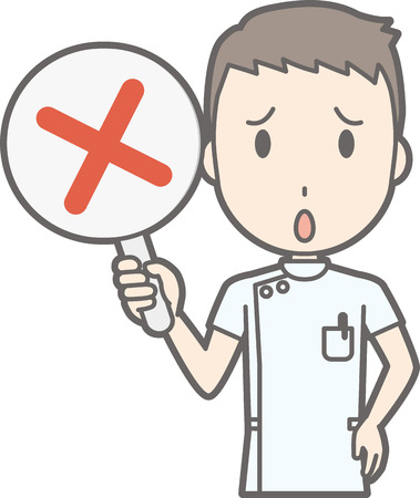 Illustration that a male nurse wearing a white suit has a tag of a cross