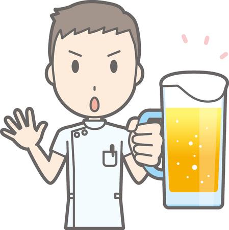 ビールで白いスーツを着ている男性看護師のイラスト  イラスト・ベクター素材