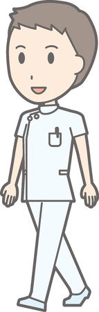 nursing clothes: Illustration of a male nurse walking in white suit Illustration