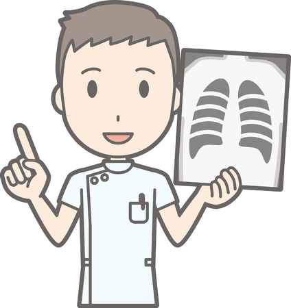 Illustration that a male nurse wearing a white suit has an X-ray photo