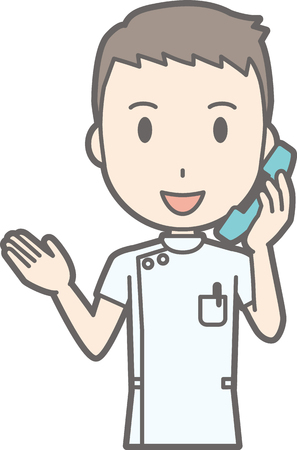 nursing clothes: Illustration that a male nurse wearing a white coat is talking on the phone Illustration