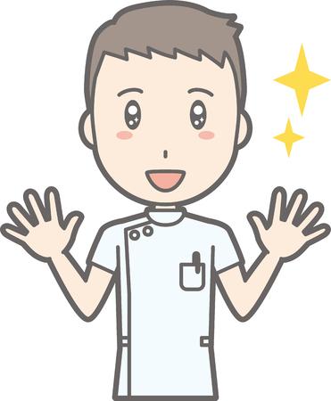 白衣をまとった男性看護師が両手を広げるイラスト