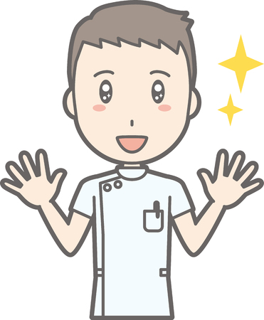 Illustrations that a male nurse wearing a white coat spreads both hands