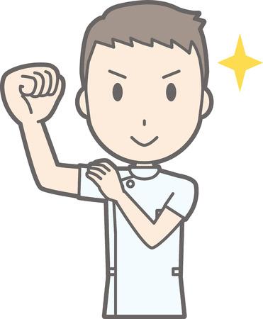 Illustratie van een verpleger die een wit kostuum draagt dat rond verpakt