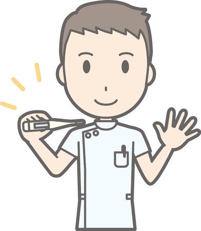 Illustratie dat een mannelijke verpleegkundige een witte jas draagt heeft een thermometer