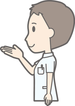 Illustration that a male nurse wearing a white suit is turning sideways
