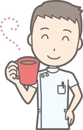 nursing clothes: Illustration of male nurse wearing a white coat drinking coffee Illustration