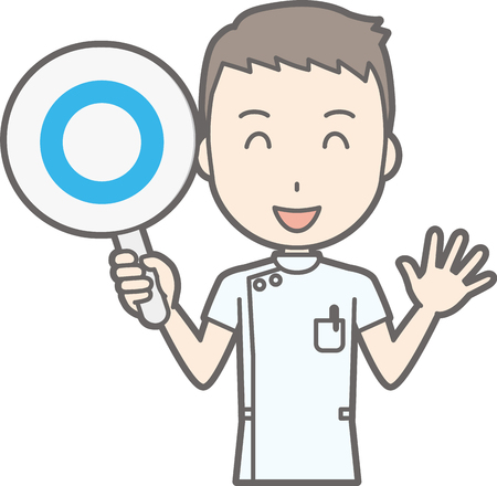 Illustration that a male nurse wearing a white coat has a circle's mark