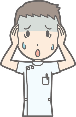 An illustration that a male nurse wearing a white coat is having trouble holding her head