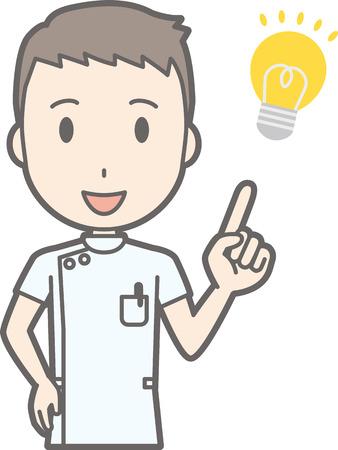 Illustration of a male nurse wearing a white coat flashing ideas