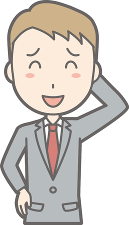 Illustration that a businessman wearing a suit is smiling Illustration