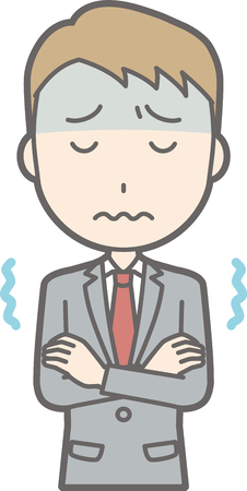 A businessman wearing a suit is cold and trembling illustrations
