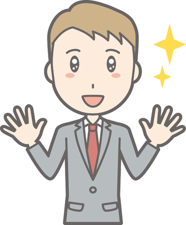 Illustrations that a businessman wearing a suit spreads both hands