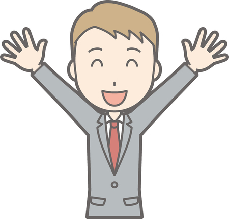 Illustration that a businessman wearing a suit is raising his hands and laughing Illustration