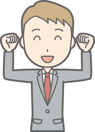 An illustration that a businessman wearing a suit is pleased to raise his fist