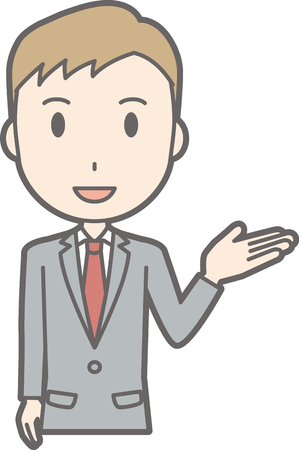 Illustration showing a businessman wearing a suit raising one hand