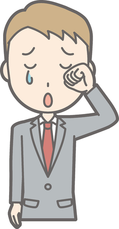 An illustration that a businessman wearing a suit is crying sadly