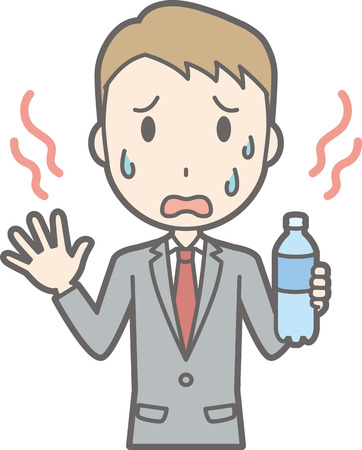 Illustration that a businessman wearing a suit is hot and drinking water