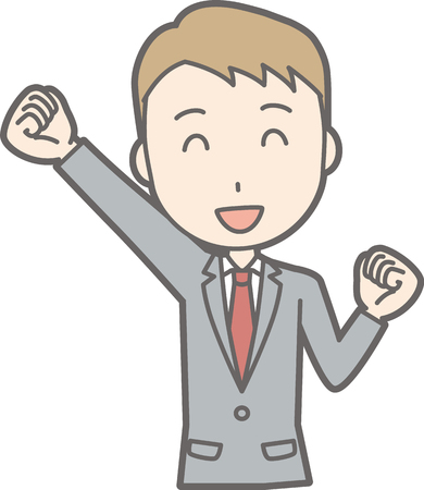 salaryman: Illustration that a businessman wearing a suit laughed his fist laughing Illustration