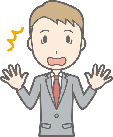 An illustration that a businessman wearing a suit is amazed at spreading his hands