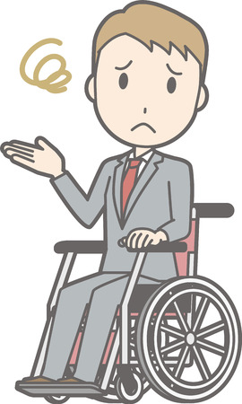 An illustration that a businessman wearing a suit is having trouble getting on a wheelchair Illustration