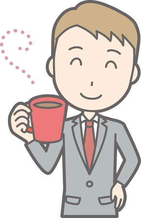 Illustration of a businessman wearing a coffee drinking coffee Illustration