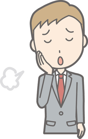 Illustration that a businessman wearing a suit is sighing