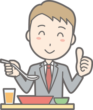 Illustration of a businessman wearing a meal eating