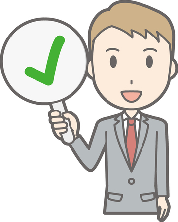 Illustration that a businessman wearing a suit has a checkmark tag